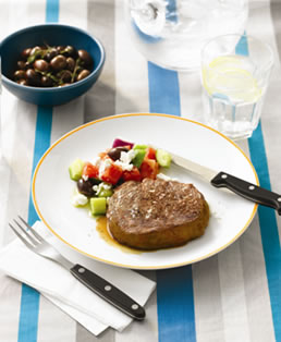 beef with greek salad